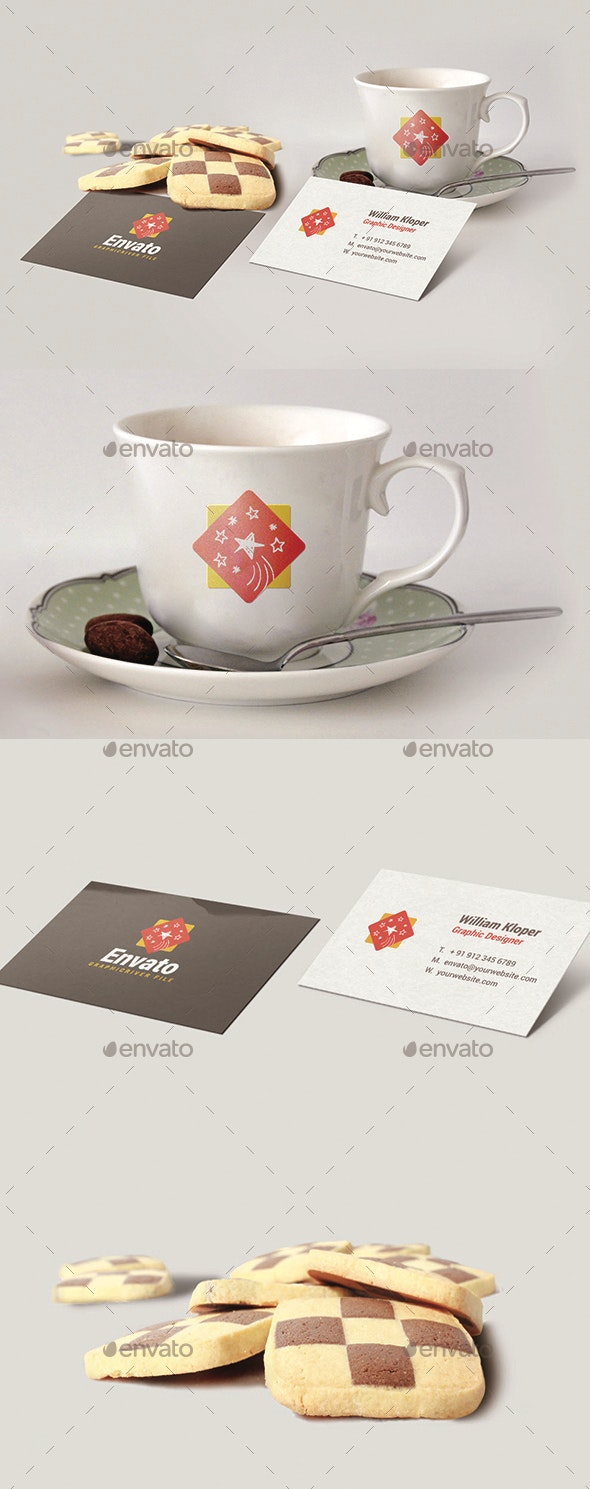 Branding Coffe Cup with Business Card Mockup - Food and Drink Packaging