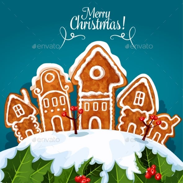 Merry Christmas Gingerbread House Poster