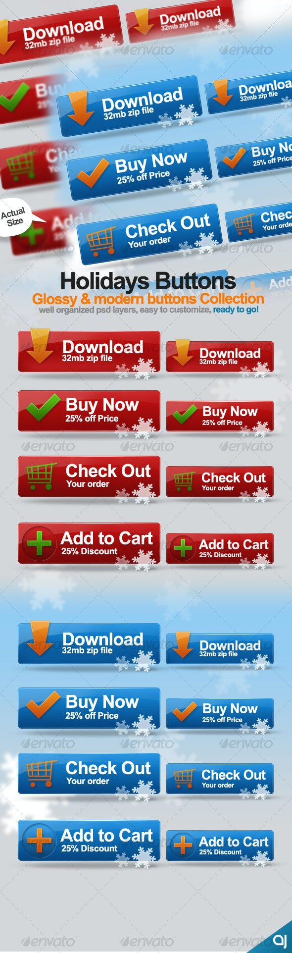 Holidays Buttons Collection 018 - Buttons Web Elements