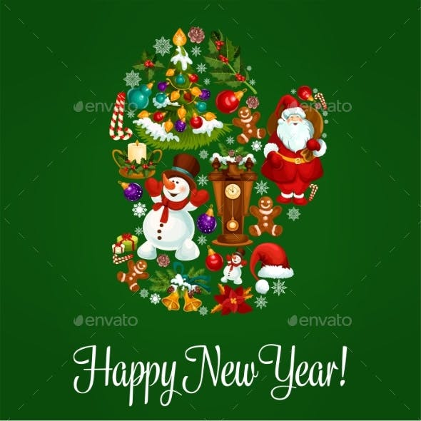 Happy New Year Greeting Poster in Mitten Shape