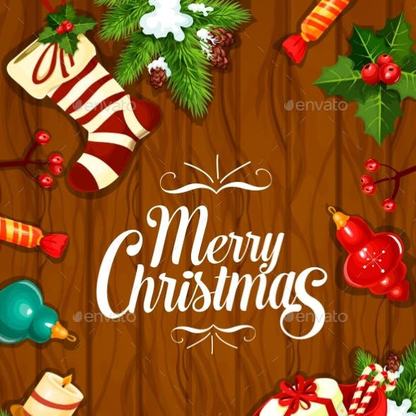 Merry Christmas Vector Greeting Poster, Card