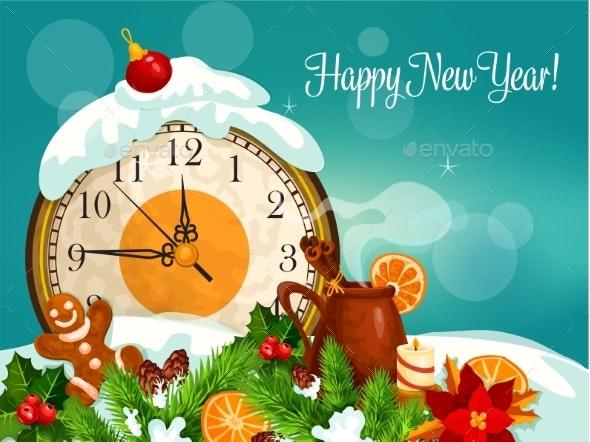 Happy New Year Vector Greeting Card - New Year Seasons/Holidays