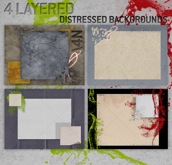 4 Layered Distressed Backgrounds - Backgrounds Graphics