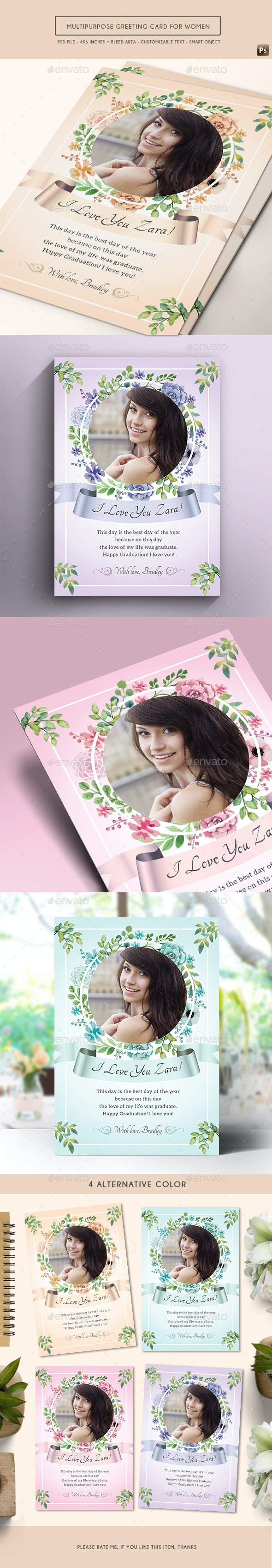 Multipurpose Greeting Card for Women - Birthday Greeting Cards