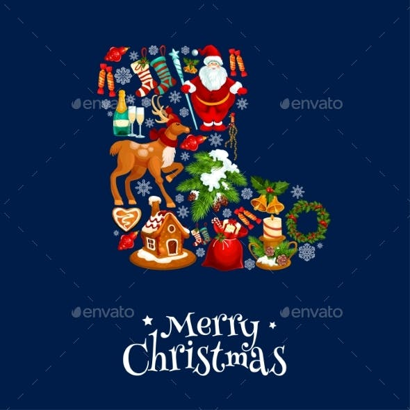 Merry Christmas Greeting Poster, Card