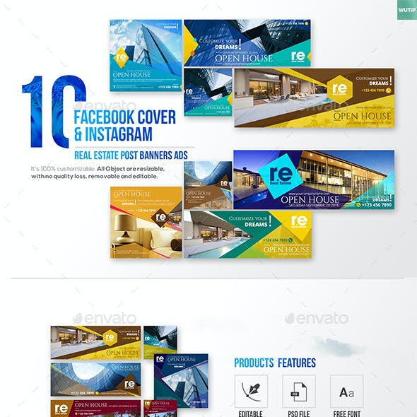 10 Facebook Cover & 10 Instagram Real Estate Post Banners Ads