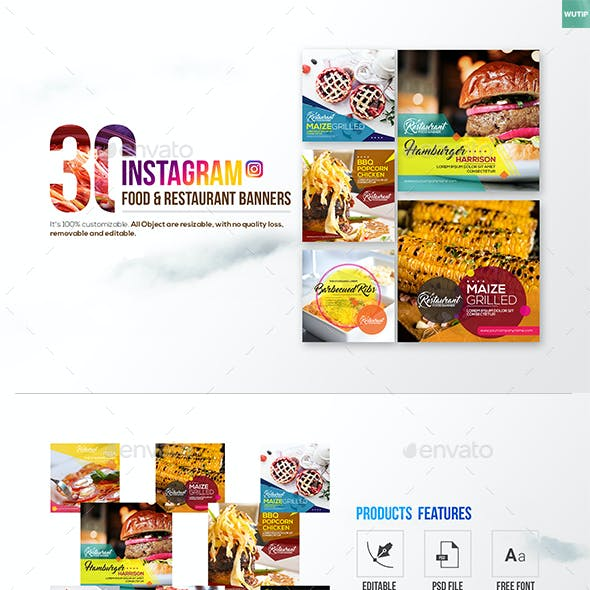 30 Instagram Food & Restaurant Banners