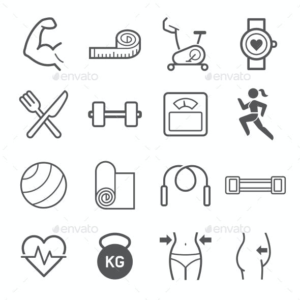 Diet and Exercise Icons
