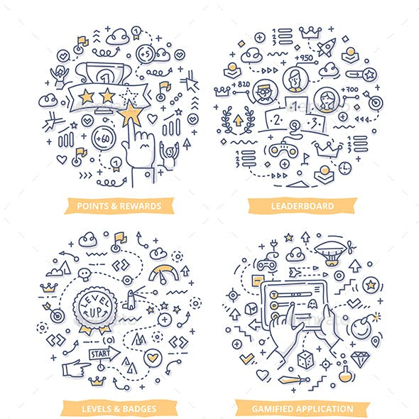 Gamification Doodle Illustrations