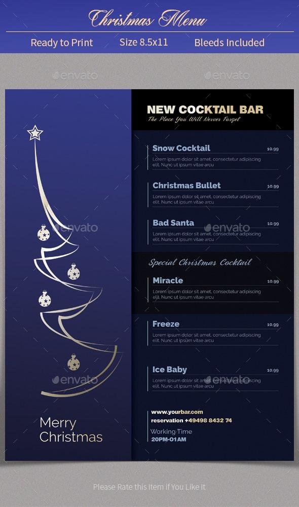 Minimalistic Christmas Menu - Food Menus Print Templates