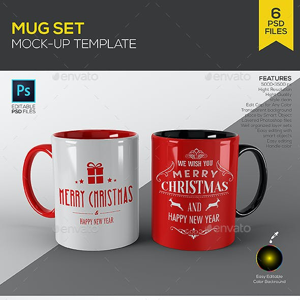 Mug Set Mock up Template