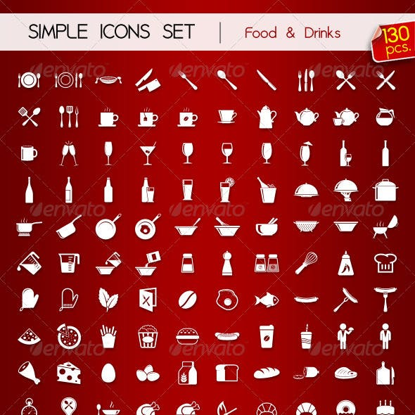 130 Simple Icons • FOOD & DRINKS •