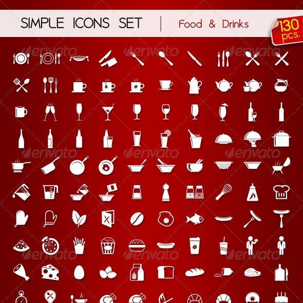 130 Simple Icons • FOOD & DRINKS •
