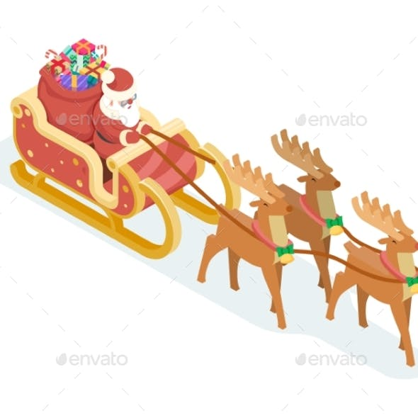 Isometric 3d Santa Claus Grandfather Frost Sleigh