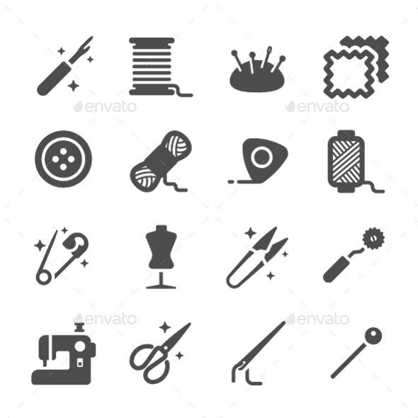 Set of Tailor Sewing Designed Elements Vector Icon Set
