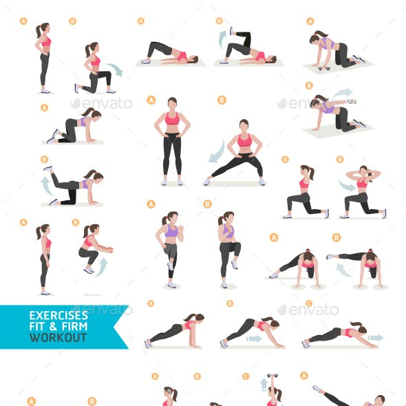 Woman Fitness Aerobic and Exercises.