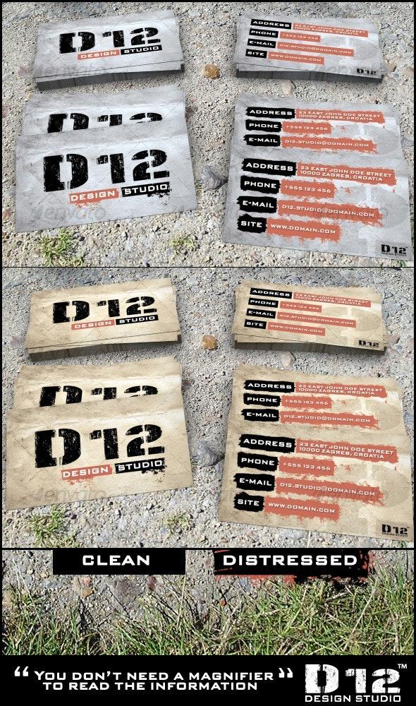 D12 design studio business cards - Grunge Business Cards