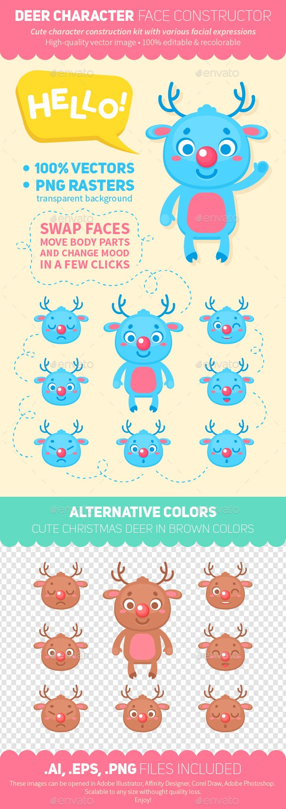 Deer Character Faces Construction Kit - Animals Characters