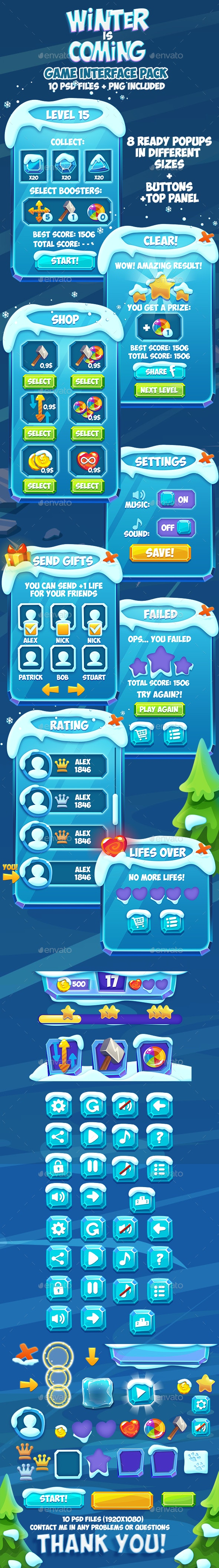 Frozen Christmas Winter Game Interface - User Interfaces Game Assets