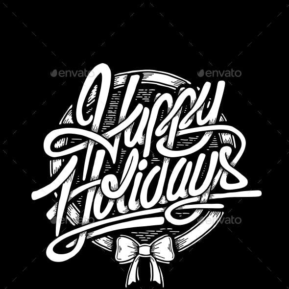 Happy Holidays Typographic Christmas Card