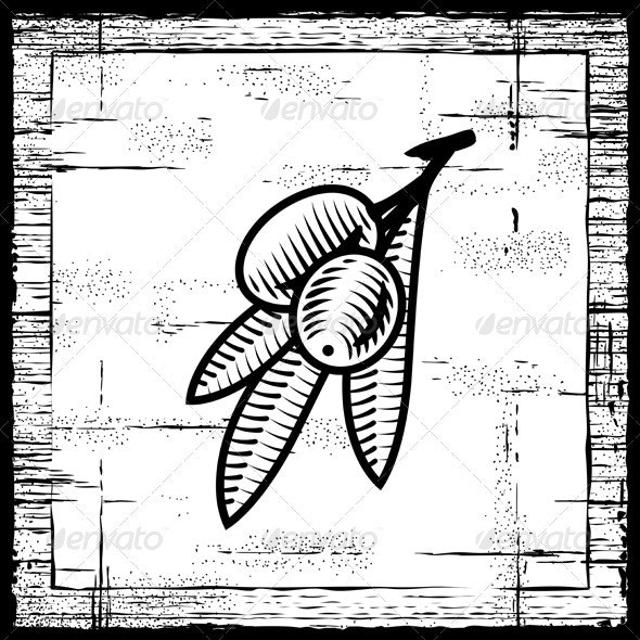 Retro Olive Branch Black And White - Food Objects