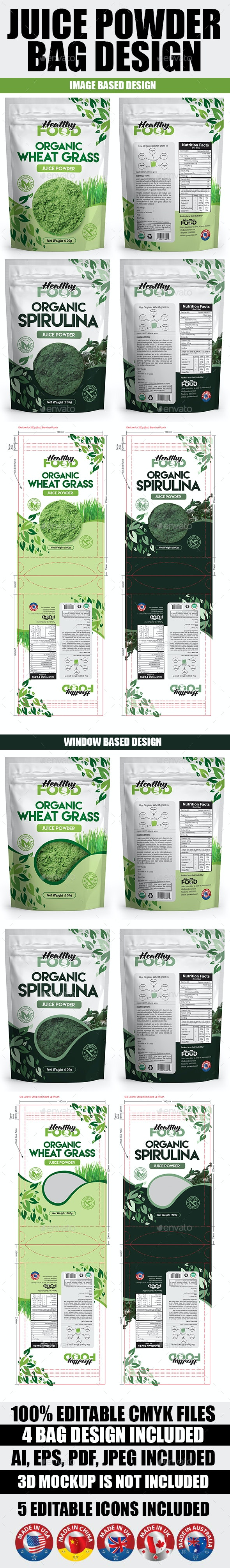 Juice Powder Bag Design Template - Packaging Print Templates