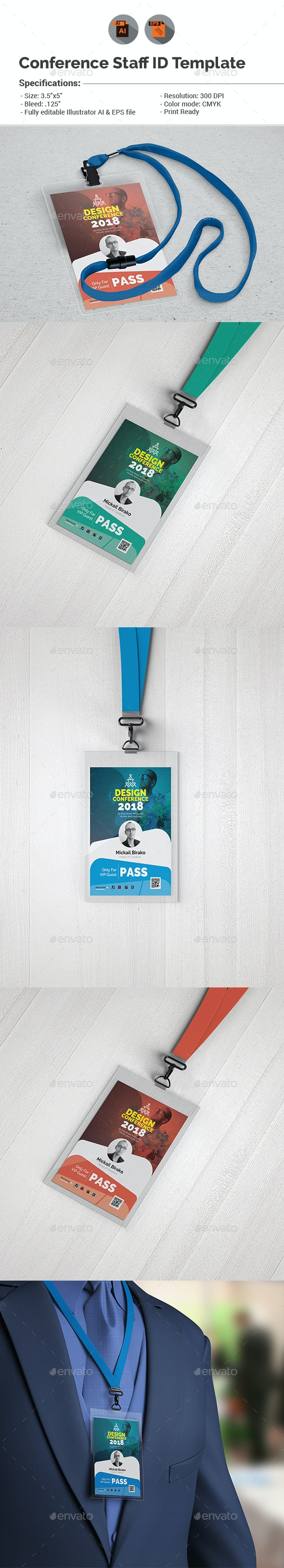 Conference VIP Pass ID Template - Miscellaneous Print Templates