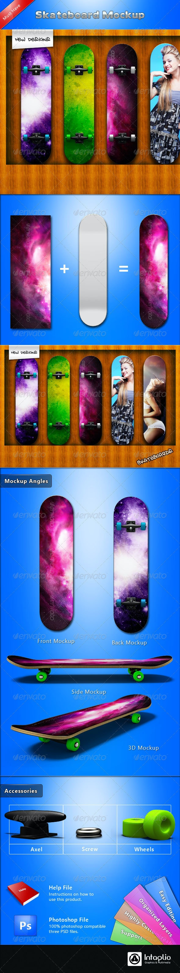 Skateboard Mockup - Miscellaneous Product Mock-Ups
