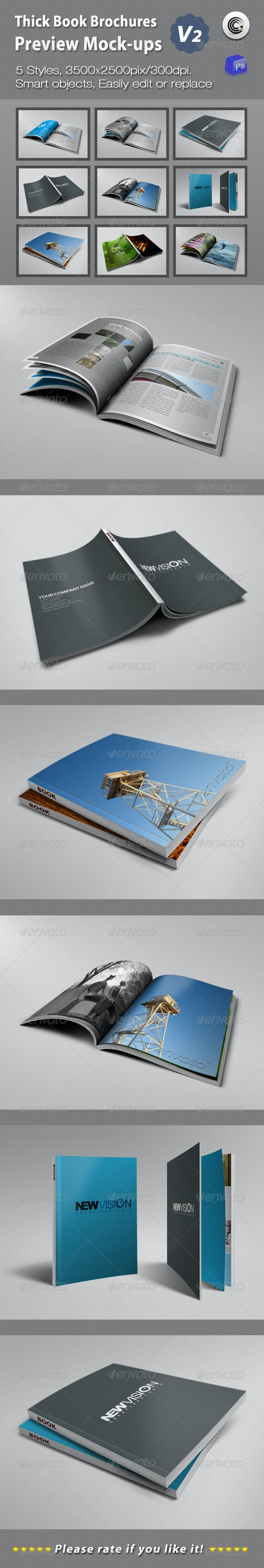 Thick Book Brochures Preview Mock-Ups V2 - Books Print