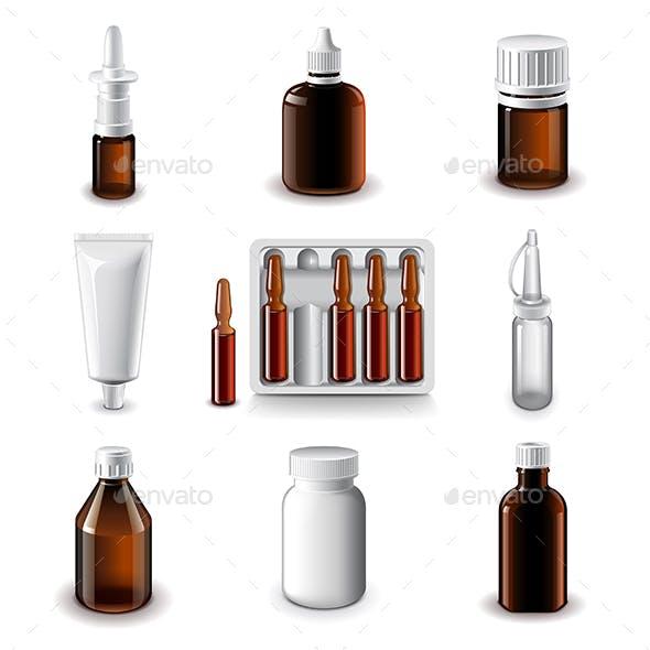 Medical Bottles Icons Vector Set