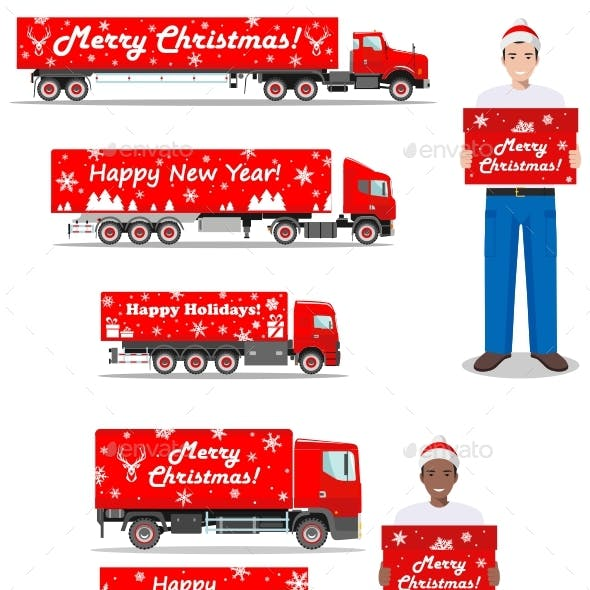 Christmas And New Year Delivery. Set Of Delivery Trucks And Deliveryman Hold The Box.