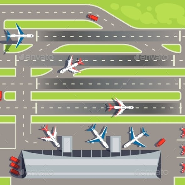 Airport with Passenger Terminal, Airplanes