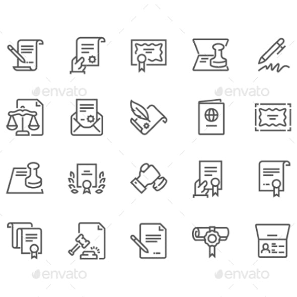 Line Legal Documents Icons