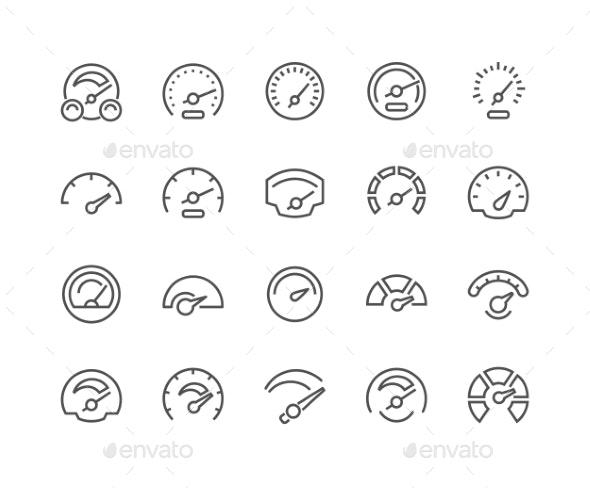 Line Speedometer Icons - Icons
