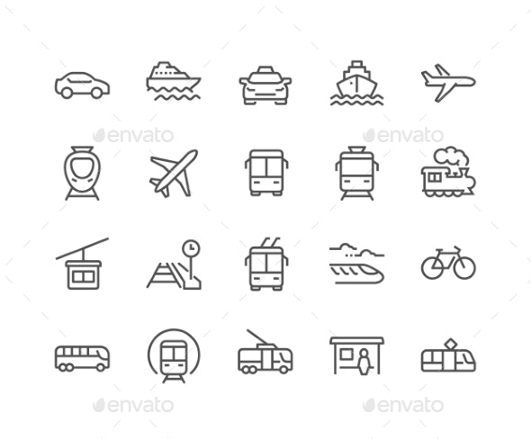 Line Public Transport Icons - Icons