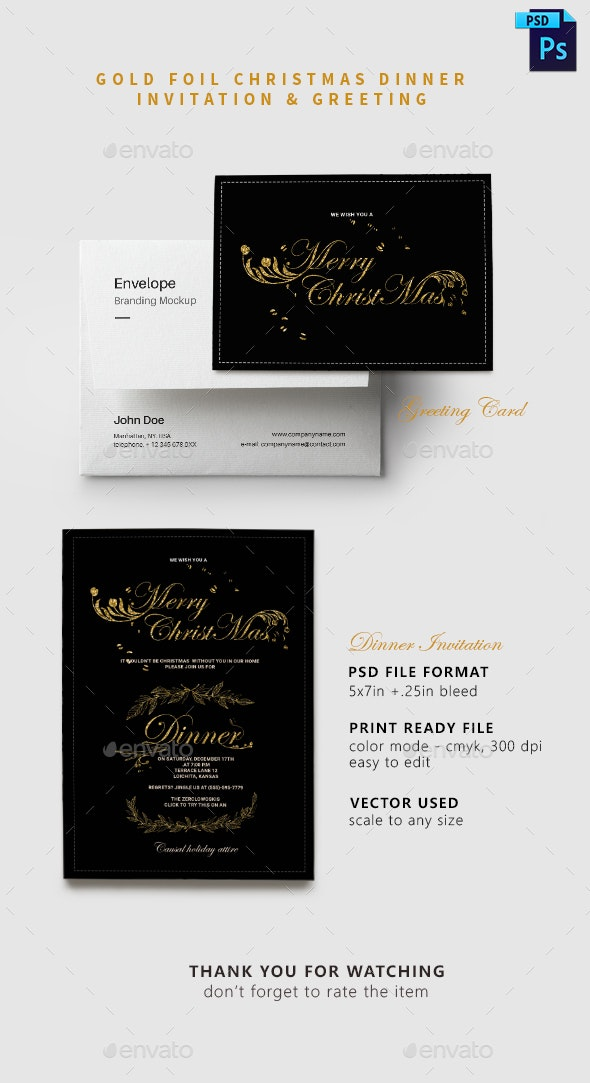 Gold Foil Christmas Dinner Invitation Greeting