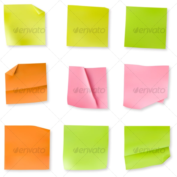 Set of 9 wrinkled stiky notes - Decorative Vectors