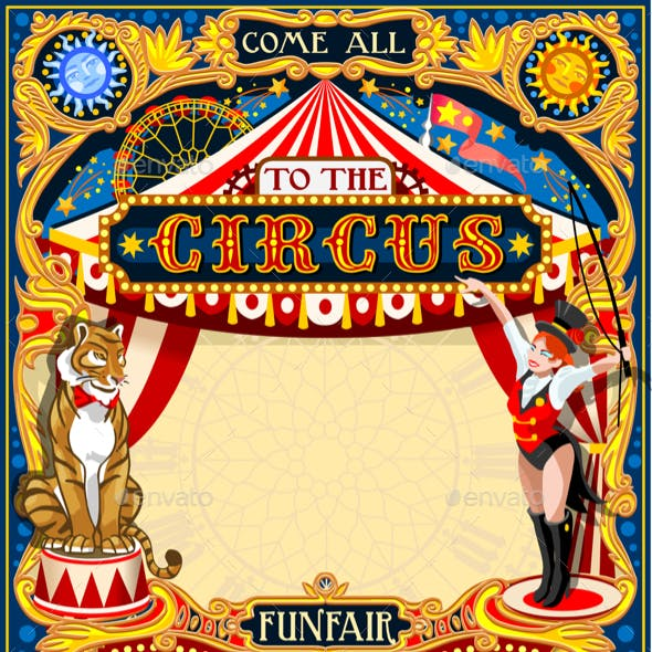 Circus Carnival Animal Trainer Invite Vintage Vector