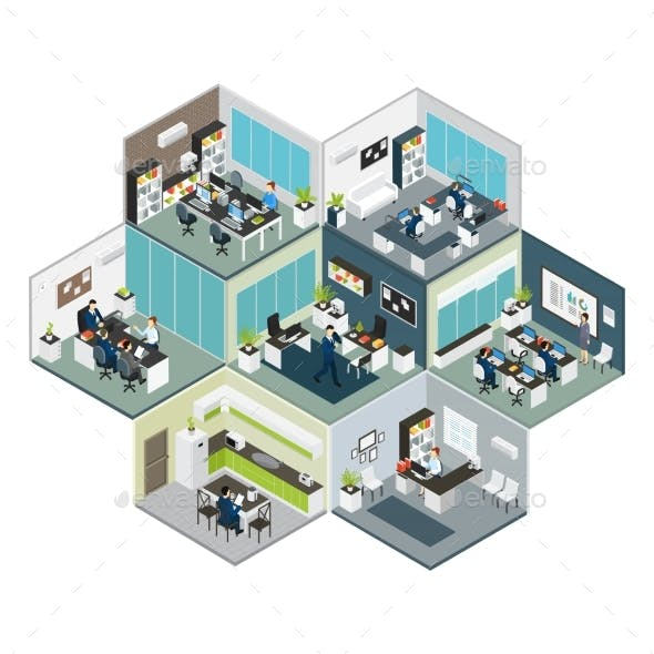 Isometric Office Different Floors Composition