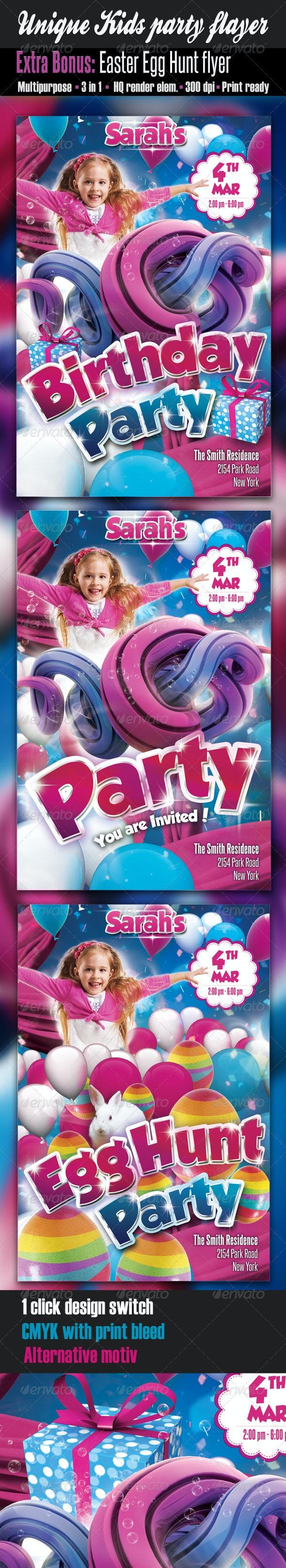 Unique Kids Party Flyer - Clubs & Parties Events