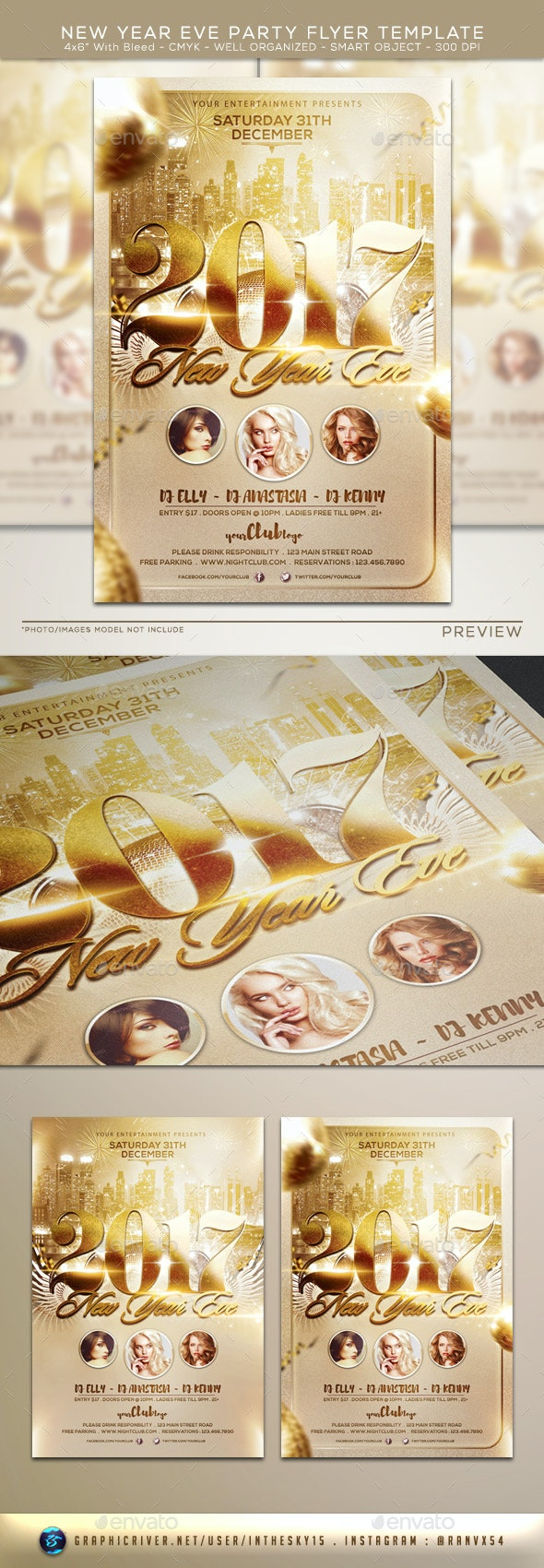 New Year Eve Party Flyer Template - Flyers Print Templates