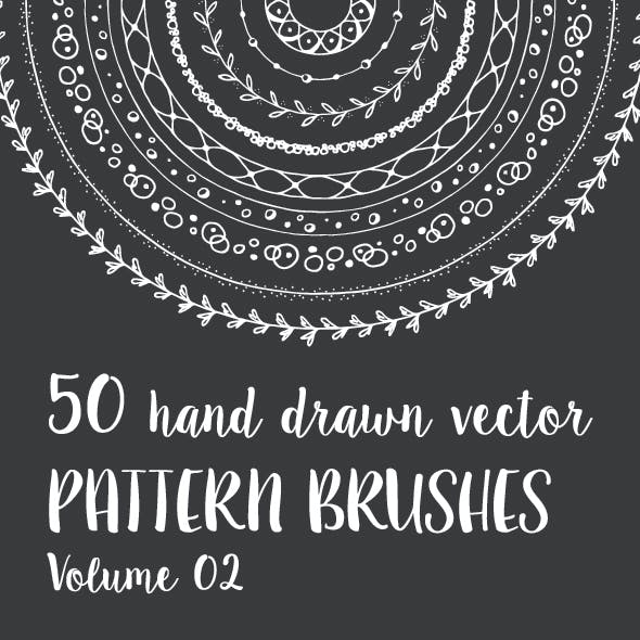 50 Hand Drawn Vector Pattern Brushes Vol. 02