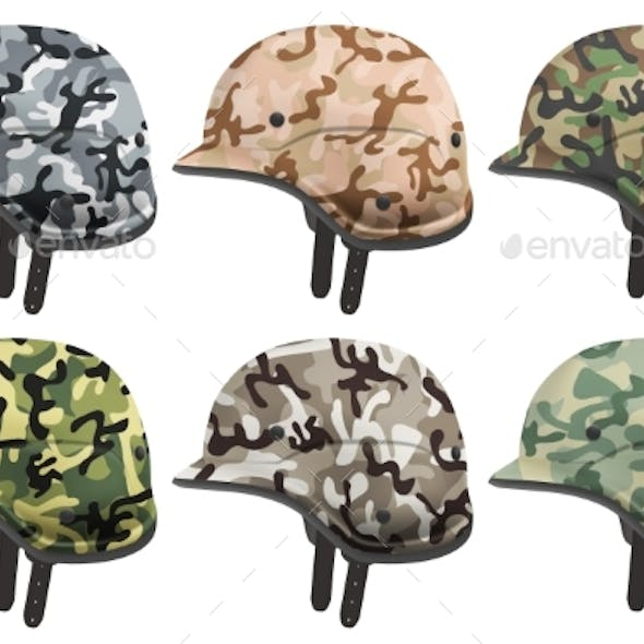 Set of Military Modern Camouflage Helmets. Side