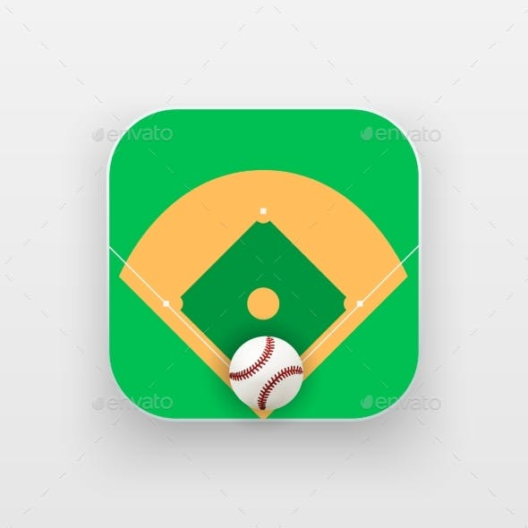 Square Icon of Baseball Sport