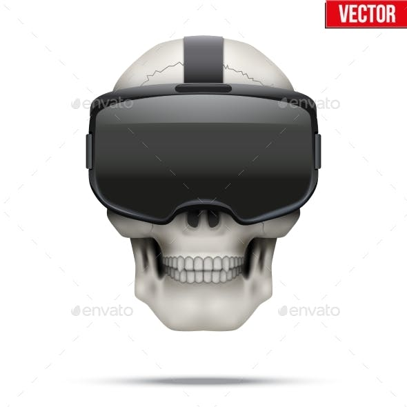 Human Skull with VR Glasses.