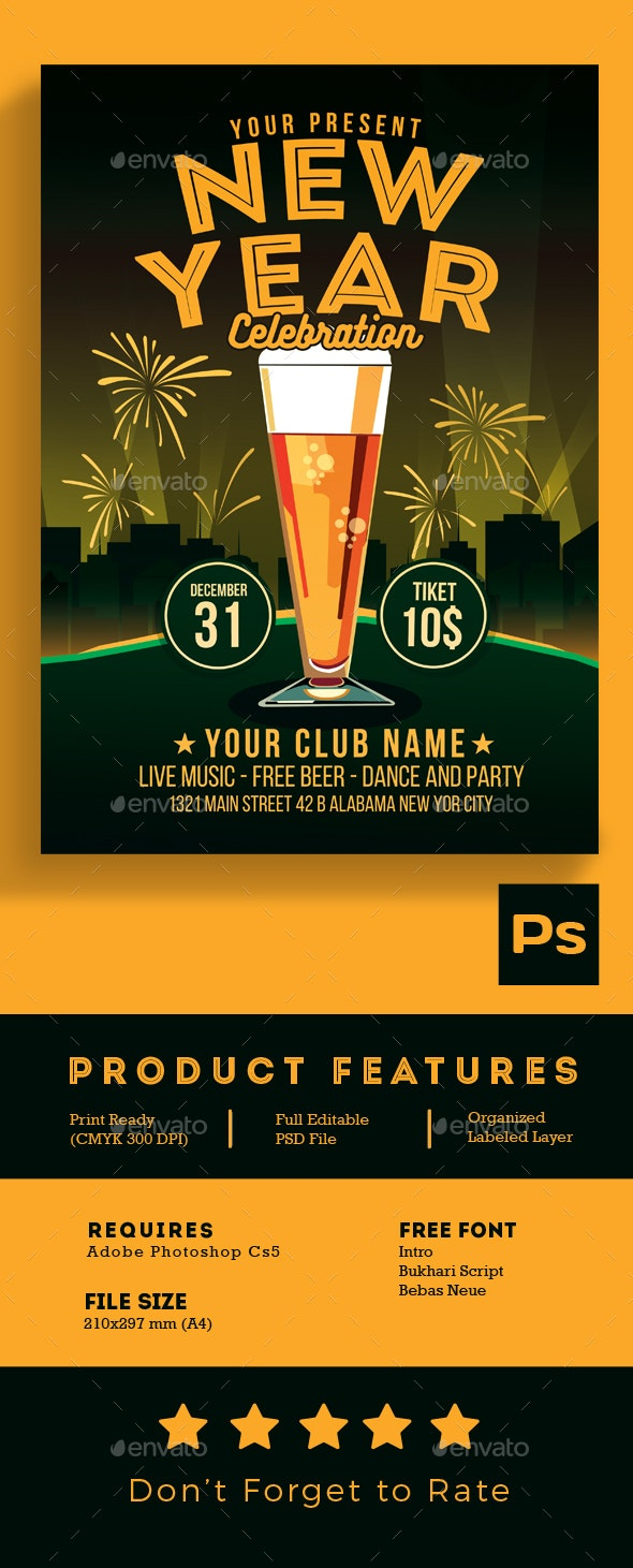 New Year Celebration Beer Party - Events Flyers