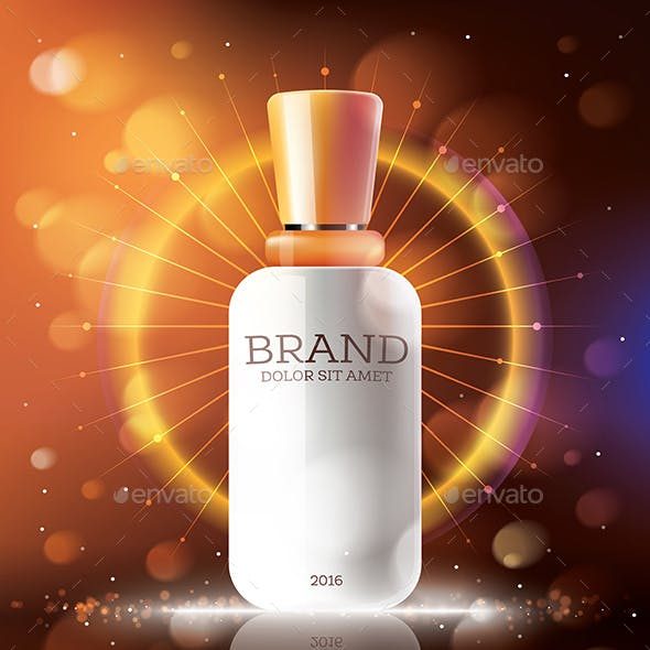 Cosmetic Ads Template with White Bottle