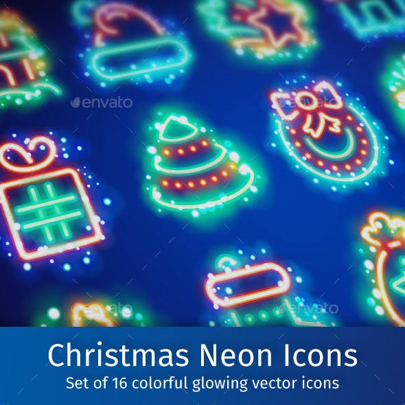 Christmas Neon Icons with Magic Sparkles