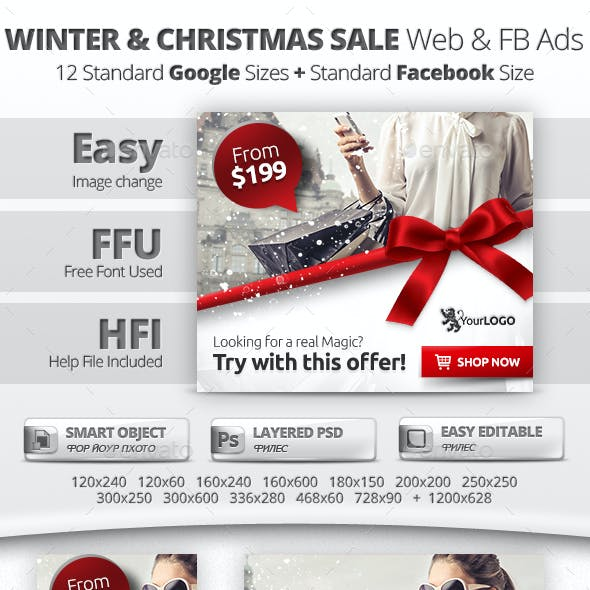 Winter & Christmas Sale Web & Facebook Banners/Ads