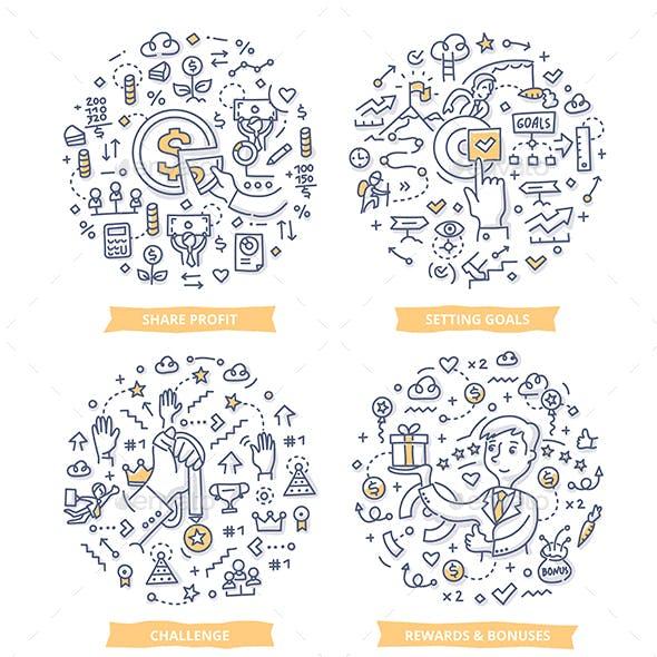 Employee Motivation Doodle Concepts